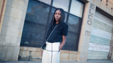 Acne Studios top, 3.1 Phillip Lim pants, Saint Laurent bag